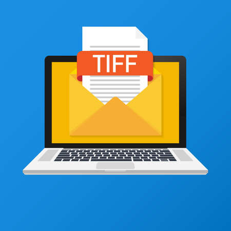 Laptop with envelope and TIFF file. Notebook and email with file attachment TIFF document. Vector illustration.