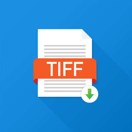 Download TIFF button. Downloading document concept. File with TIFF label and down arrow sign. Vector stock illustration.