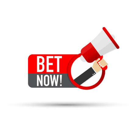 Hand Holding Megaphone with Bet now! Vector stock illustration.
