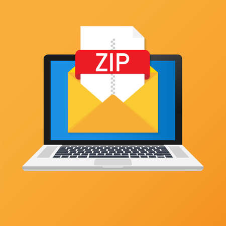 Laptop with envelope and ZIP file. Notebook and email with file attachment ZIP document. Vector stock illustration.