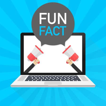 Laptop notebook computer screen. Hand holding megaphone. Fun fact text in speech bubble. Vector stock illustration.