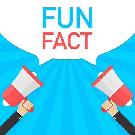 Hand Holding Megaphone with Fun fact. Vector stock illustration.