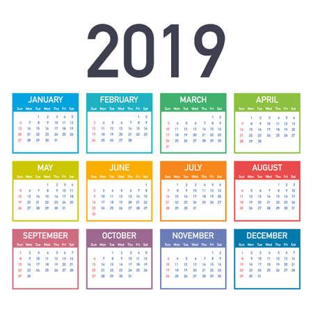 Kalendarz 2019, tydzień zaczyna się od niedzieli, szablon biznes. Dostępny do edycji plik wektorowy. Wersja angielska i od niedzieli do poniedziałku.