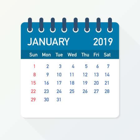 Kalenderblad januari 2019. Kalender 2019 in vlakke stijl. Vector voorraad illustratie.