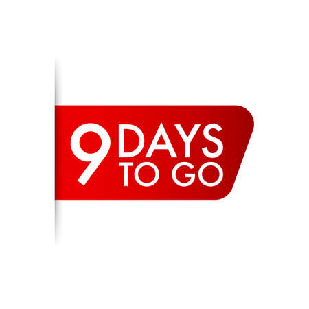 9 days to go Red ribbon. Vector stock illustration. Ilustrace