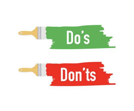 Banner mit Pinseln, Farben - Do's and Don'ts. Vektorgrafik auf Lager.
