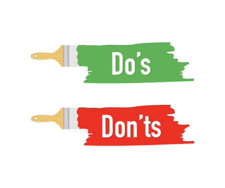 Banner with brushes, paints - Do's and Don'ts. Vector stock illustration.