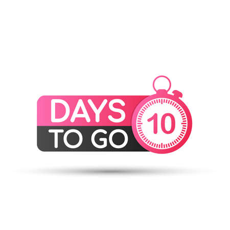 Ten Days To Go Badges or flat Design. Vector stock illustration.