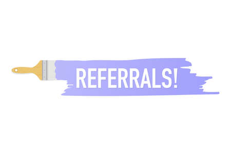 Banner with brushes, paints - Referrals! Vector stock illustration.