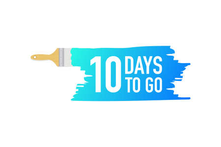 Banner with brushes, paints - 10 days to go. Vector stock illustration. 일러스트