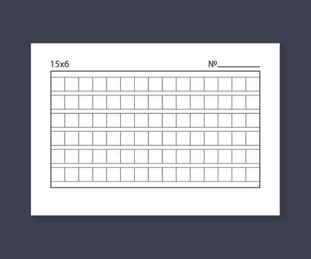 15x6 Squared manuscript paper. Vector stock illustration. Vector Illustration