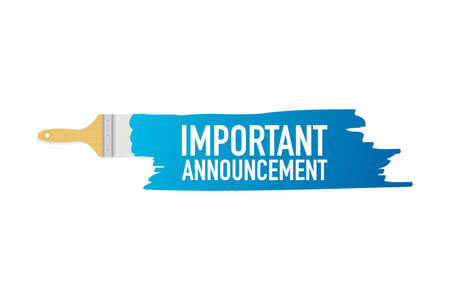 Banner with brushes, paints - Important announcement. Vector stock illustration.
