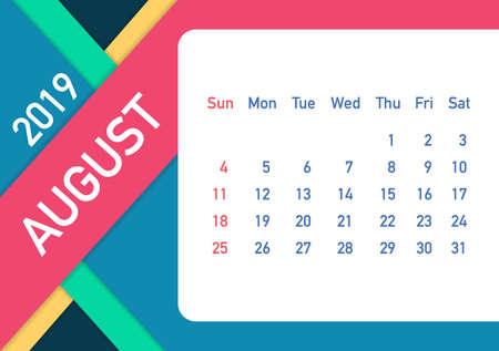 August 2019 Calendar Leaf. Calendar 2019 in flat style. A5 size. Vector stock illustration. Illustration