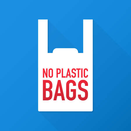 No plastic bags forbidden sign on black background. Vector stock illustration.