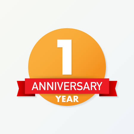 1 year anniversary emblem. Anniversary icon or label. 1 year celebration and congratulation design element. Vector stock illustration.