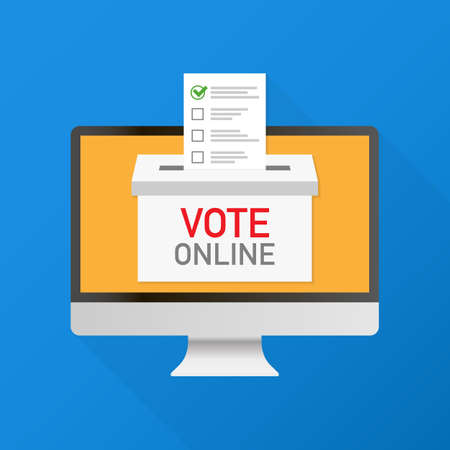 Voting online concept. Hand putting voting paper in the ballot box on a laptop screen. Vector stock illustration. Vecteurs