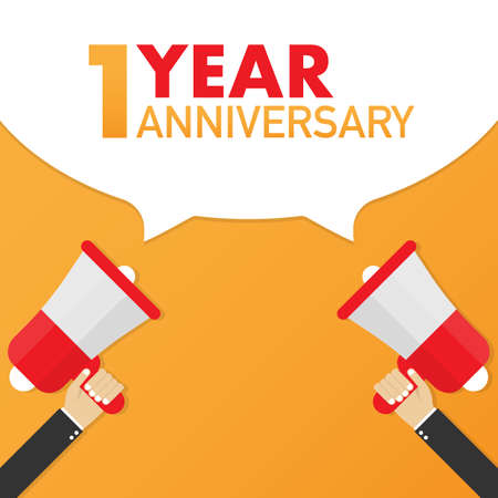 1 year anniversary - advertising sign with megaphone. Vector stock illustration.