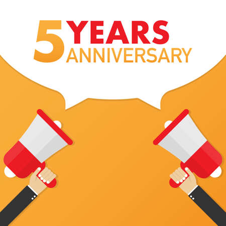 5 years anniversary - advertising sign with megaphone. Vector stock illustration.
