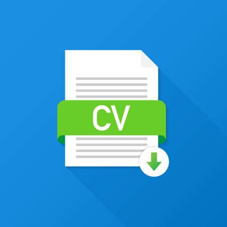 Download CV button. Downloading document concept. File with CV label and down arrow sign. Vector stock illustration.