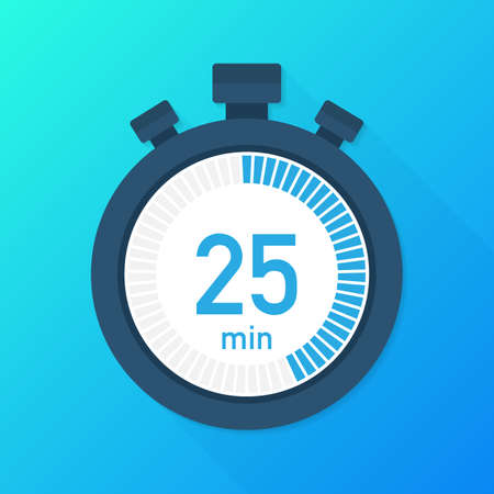 The 25 minutes, stopwatch vector icon. Stopwatch icon in flat style, timer on on color background.  Vector stock illustration. Illusztráció