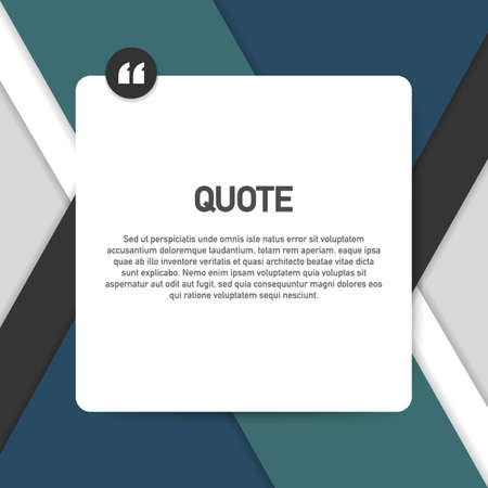 Quote background vector. Creative Modern Material Design Quote template. Vector illustration.