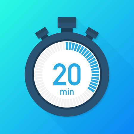 De 20 minuten, stopwatch vector icoon. Stopwatch pictogram in vlakke stijl, timer op op gekleurde achtergrond. Vector voorraad illustratie.