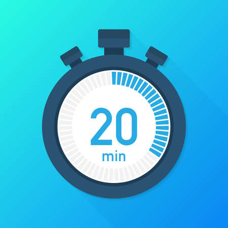 Les 20 minutes, icône de vecteur de chronomètre. Icône du chronomètre dans un style plat, minuterie sur fond de couleur. Illustration vectorielle de stock.