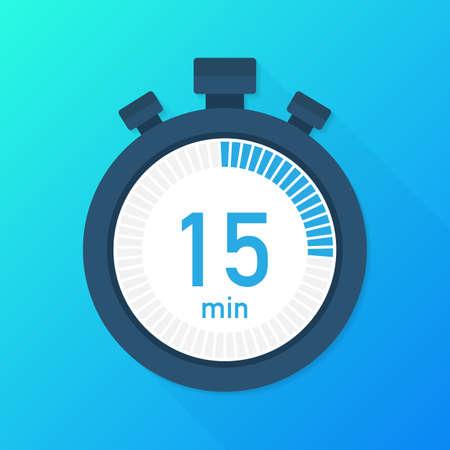 Les 15 minutes, icône vectorielle du chronomètre. Icône du chronomètre dans un style plat, minuterie sur fond de couleur. Illustration vectorielle de stock.