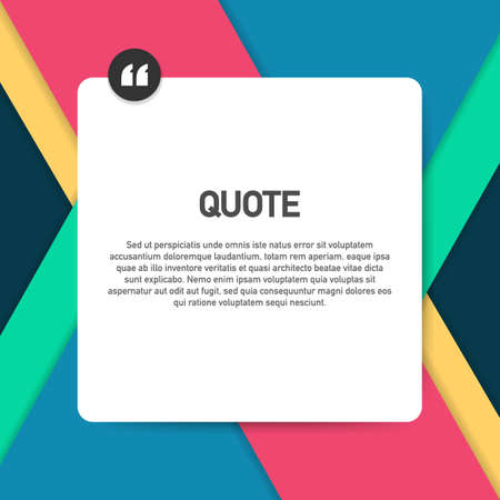 Quote background vector. Creative Modern Material Design Quote template. Vector stock illustration. Vectores