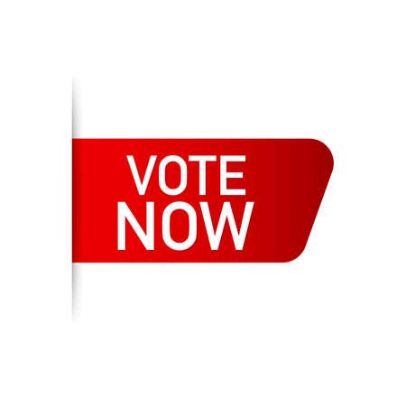Vote now Red Label. Red Web Ribbon. Vector stock illustration. Illustration