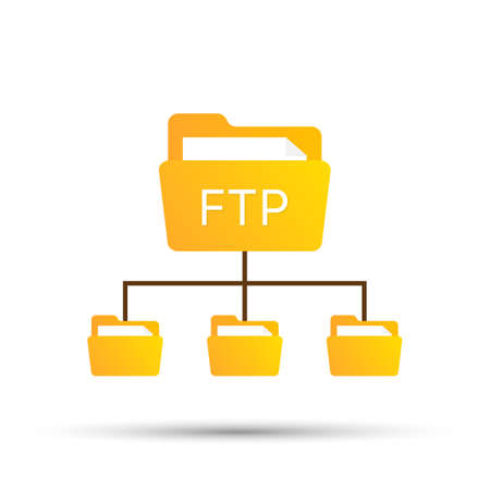 color ftp protocol simple icon. concept of software update, router, teamwork tool management, copy process, info. Vector stock illustration.