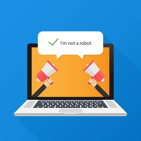 Captcha, I am not a robot. Vector stock Illustration