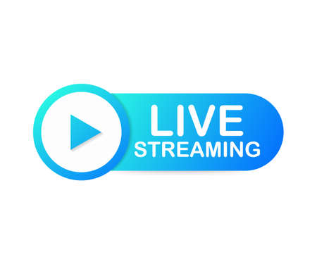 Live streaming flat  - Blue vector design element with play button. Vector stock illustration Ilustração