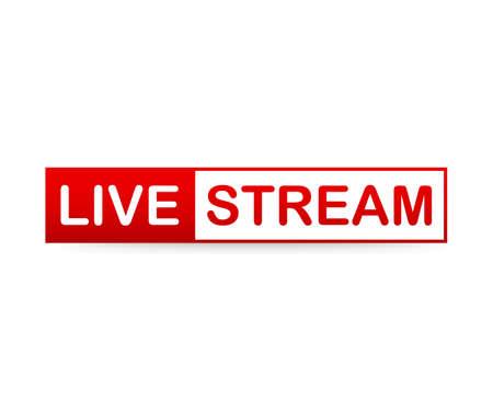 Red Live Stream Icon on white background. Vector stock illustration Векторная Иллюстрация