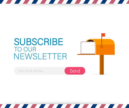 Email subscribe, online newsletter vector template with mailbox and submit button. Vector stock illustration.