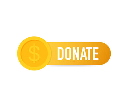 Vector donate concept hand and money button in flat style. Vector stock illustration.