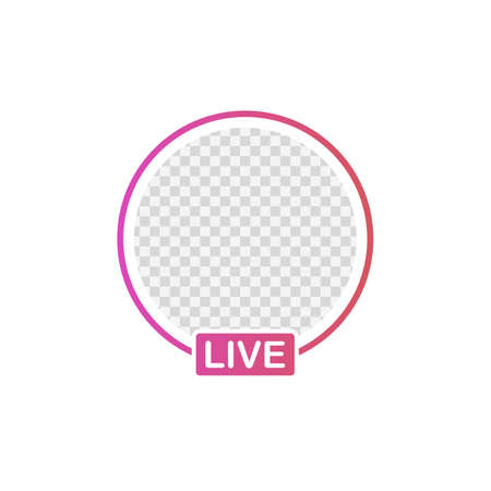 Social media icon avatar frame. Live stories user video streaming. Vector stock illustration.
