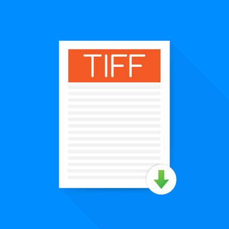 Download TIFF button. Downloading document concept. File with TIFF label and down arrow sign.
