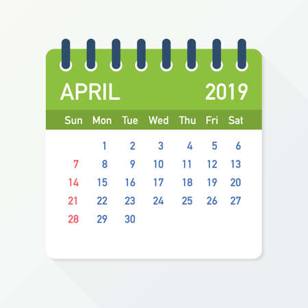 April 2019 Calendar Leaf. Calendar 2019 in flat style. Vector stock illustration.