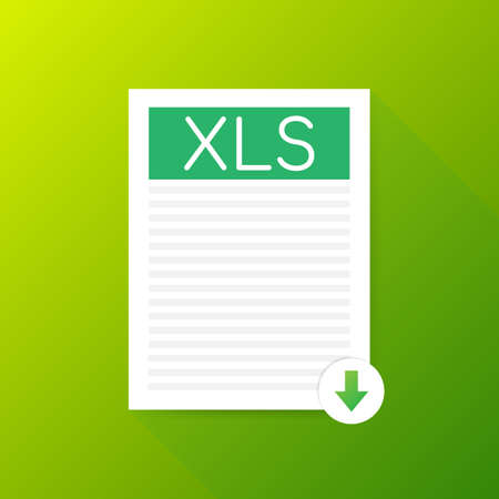 Download XLS button. Downloading document concept. File with XLS label and down arrow sign.