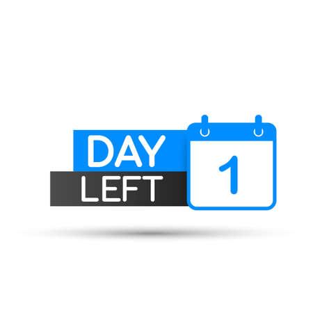 Queda 1 día para ir. Icono de plano sobre fondo blanco. Ilustración de vector