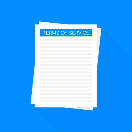 Terms of service. Document icon. Top view. Terms of use, terms and conditions concepts. 일러스트