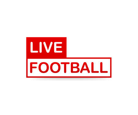 Live Football streaming Icon, Badge, Button for broadcasting or online football stream.