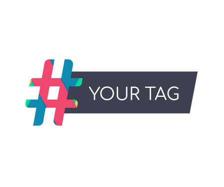 Hashtag, communication sign. Abstract illustration for your design on white background. 向量圖像