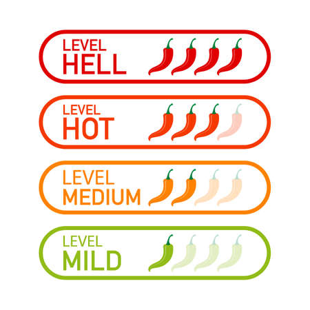 Indicatore della scala di potenza del peperoncino piccante con posizioni mite, medio, caldo e inferno