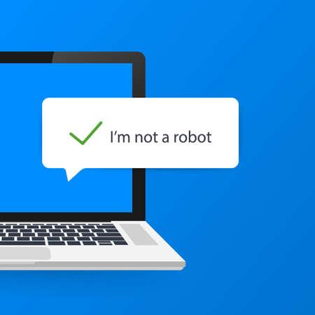 Captcha, I am not a robot on laptop screen. 矢量图像