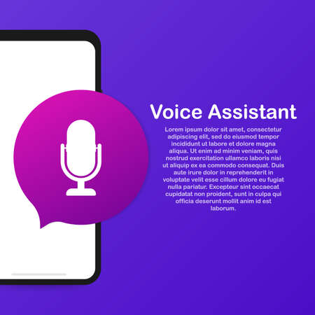 Personal assistant and voice recognition on mobile app. Concept flat vector illustration of human hand holds smartphone with microphone button Çizim