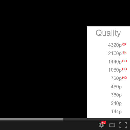 Video quality selection. The quality of the video, movie or picture on white and black background.