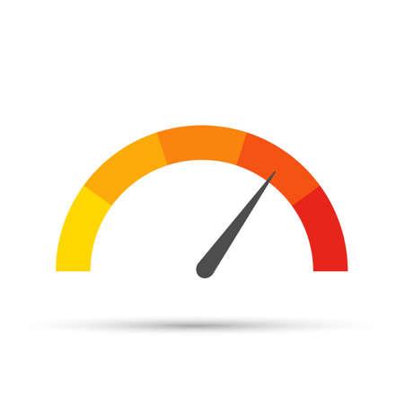 Indicatore di temperatura rotondo, isolato su sfondo bianco. Scala a semicerchio di misurazione colorata in stile piatto. Vettoriali