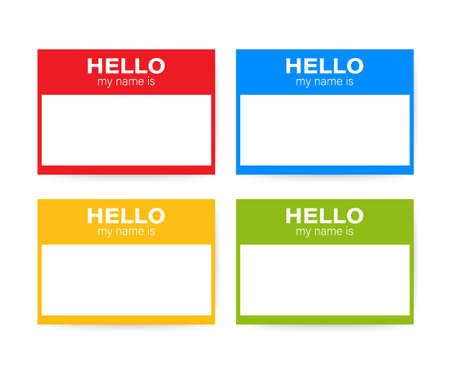 """Hello My Name Is..."" Name Tag Set. Label sticker on white background."
